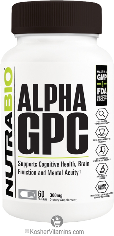 NutraBio Alpha GPC Vegetarian Suitable not Certified Kosher 60