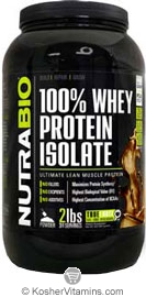 NutraBio Kosher 100% Whey Protein Isolate Dutch Chocolate Dairy 2 LB
