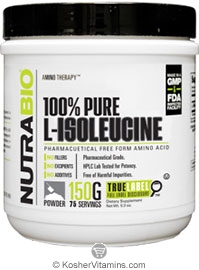 NutraBio Kosher L-Isoleucine Powder 2000 Mg 5.3 OZ