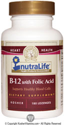 NutraLife Kosher B12 1000 Mcg with Folic Acid Chewable Strawberry Flavor 180 Tablets