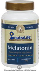 NutraLife Kosher Melatonin 3 Mg Chewable Strawberry Flavor 120 Tablets