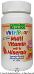 Navitco Kosher NutriBear Multi Vitamin with Minerals Chewable Jellies 60 Bears