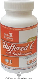 Nutri-Supreme Research Kosher Buffered Vitamin C 500 Mg with Bioflavonoids 120 Vegetarian Capsules