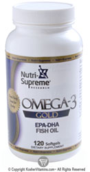 Nutri-Supreme Research Kosher Omega-3 Gold EPA-DHA Fish Oil 120 Softgels