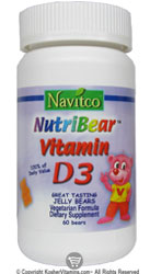 Navitco Kosher NutriBear Vitamin D3 400 IU Chewable Jellies Raspberry Flavor 60 Bears
