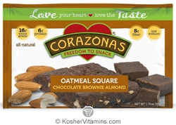 Corazonas Kosher Oatmeal Squares Brownie Almond Dairy 12 Bars