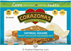 Corazonas Kosher Oatmeal Squares White Chocolate Macadamia Nuts Dairy 12 Bars