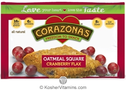Corazonas Kosher Oatmeal Squares Cranberry Flax Dairy 12 Bars