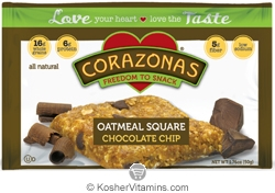 Corazonas Kosher Oatmeal Squares Chocolate Chip Dairy 12 Bars