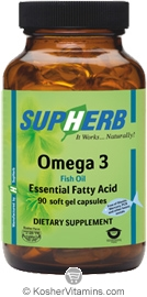 SupHerb Kosher Omega-3 1000 Mg Fish Oil EPA/DHA 90 Softgels