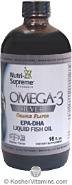 Nutri-Supreme Research Kosher Omega-3 Silver Liquid Fish Oil EPA/DHA Orange Flavor  BUY 1 GET 1 FREE  16 OZ