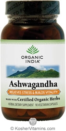 Organic India Kosher Ashwagandha (Relieves Stress & Builds Vitality) 90 Vegetarian Capsules