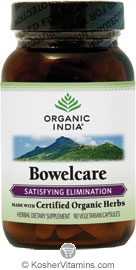 Organic India Kosher Bowelcare (Satisfying Elimination) 90 Vegetarian Capsules
