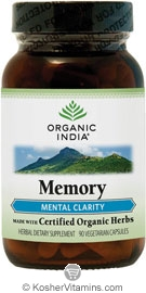 Organic India Kosher Memory (Mental Clarity) 90 Vegetarian Capsules