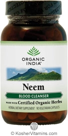 Organic India Kosher Neem (Blood Cleanser) 90 Vegetarian Capsules