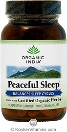 Organic India Kosher Peaceful Sleep (Balances Sleep Cycles) 90 Vegetarian Capsules