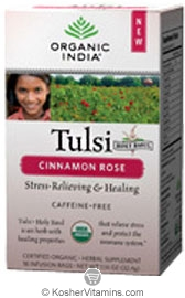 Organic India Kosher Tulsi Cinnamon Rose Caffeine Free Pack of 6 18 Tea Bags