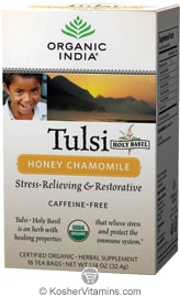 Organic India Kosher Tulsi Honey Chamomile Caffeine Free Pack of 6 18 Tea Bags