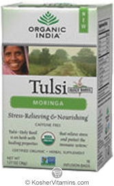 Organic India Kosher Tulsi Tea Moringa Pack of 6 18 Tea Bags