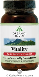Organic India Kosher Vitality (Daily Energy & Stamina) 90 Vegicaps