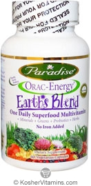 Paradise Orac-Energy Earth Blend One Daily Iron Free Superfood Multivitamin & Minerals Vegetarian Suitable not Certified Kosher 60 Vegetarian Capsules