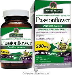 Natures Answer Standardized Passionflower Extract Vegetarian Suitable not Certified Kosher 60 Vegetable Capsules