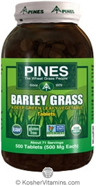 Pines Kosher Organic Barley Grass 500 Tablets