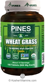 Pines Kosher Organic Wheat Grass 100 Tablets