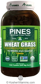 Pines Kosher Organic Wheat Grass 1400 Tablets