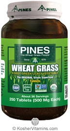 Pines Kosher Organic Wheat Grass 250 Tablets