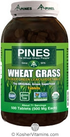 Pines Kosher Organic Wheat Grass 500 Tablets