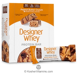 Designer Whey Kosher Protein Bar Peanut Butter Crunch Dairy 12 Bars
