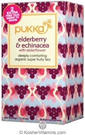 Pukka Kosher Organic Elderberry and Echinacea with Elderflower Tea 6 Pack 20 Sachets