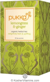 Pukka Kosher Organic Lemongrass and Ginger Tea 20 Sachets