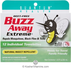 Quantum Health Buzz Away Extreme Natural Insect Repellant Towelettes Deet Free 12 Packets