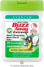 Quantum Health Buzz Away Extreme Natural Insect Repellant Towelettes Deet Free 25 Towelettes