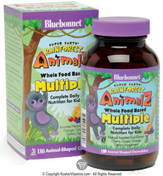 Bluebonnet Kosher Super Earth Rainforest Animalz Whole Food Based Multiple Chewable Assorted Fruit Flavors 180 Chewables