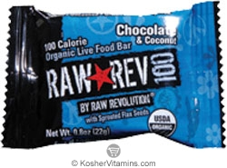 Raw Revolution Kosher 100 Calorie Organic Live Food Bar Chocolate & Coconut Parve 20 Bars