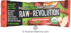 Raw Revolution Kosher Organic Greens Super Food Bar Apple Cinnamon Parve 12 Bars