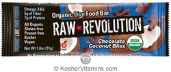 Raw Revolution Kosher Organic Live Food Bar Chocolate Coconut Bliss Parve 12 Bars