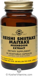 Solgar Reishi Shitake Maitake Mushroom Extract Vegetarian Suitable Not Certified 50 Vegetable Capsules