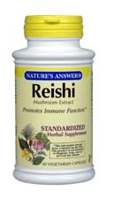 Natures Answer Standardized Reishi Mushroom Extract Vegetarian Suitable Not Certified Kosher 60 Vegetable Capsules