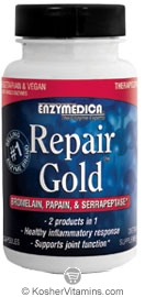 Enzymedica Kosher Repair Gold Bromelain, Papain, & Serrapeptase 30 Targeted Delivery Capsules