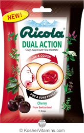 Ricola Kosher Ricola Herbal Throat Drops Dual Action Cherry (19 drops)  1 Bag