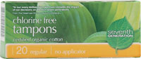 Seventh Generation Organic Cotton Tampons Regular no applicator 20 Tampons