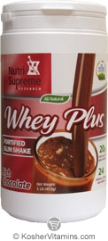 Nutri-Supreme Research Kosher Whey Plus Fortified Slim Shake Protein Powder Rich Chocolate Dairy Cholov Yisroel 1 LB