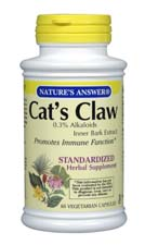 Natures Answer Standardized Cat's Claw Inner Bark Extract Vegetarian Suitable not Certified Kosher 60 Capsules