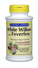 Natures Answer Standardized White Willow with Feverfew Vegetarian Suitable not Certified Kosher 60 Capsules