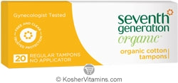 Seventh Generation Organic Cotton Tampons Regular no Applicator 20 Count