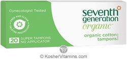 Seventh Generation Organic Cotton Tampons Super no Applicator 20 Count